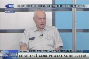 SCRIITORUL GHEORGHE PETCU REVINE ÎN STUDIOUL CAMPUS TV