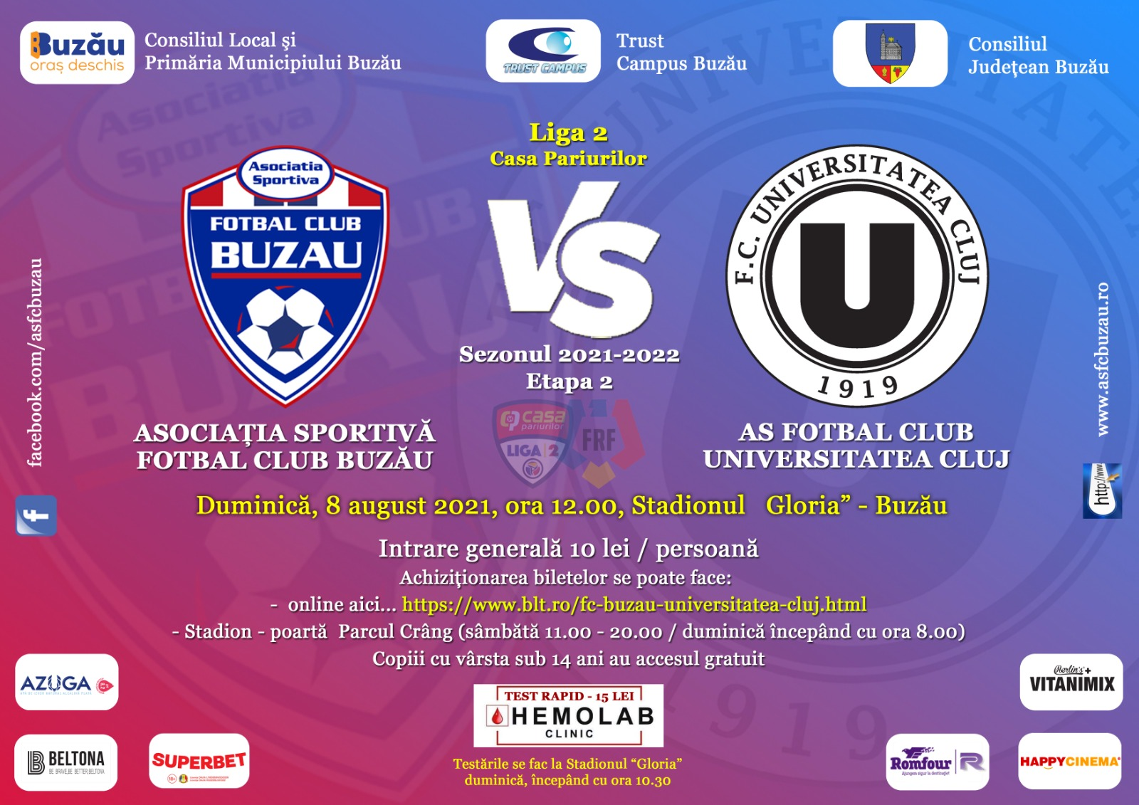 Iată fișa care vă înlesnește accesul pe stadion, la FC Buzău-U. Cluj
