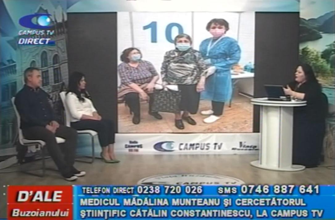 Medicul Mădălina Munteanu și cercetătorul științific Cătălin Constantinescu, la CAMPUS TV